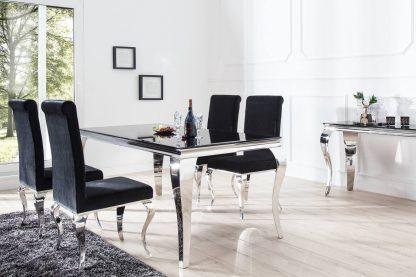 Modern barock elegancki stół do jadalni w stylu glamour z czarnym blatem i srebrnymi nogami 200 cm