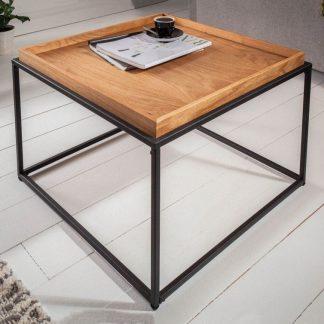 Kwadratowy stolik kawowy elements z dębowym blatem / 60x60 cm