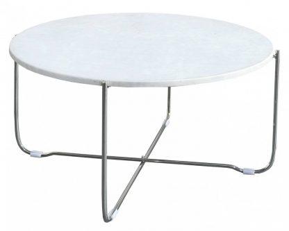 Okrągły stolik z marmurowym blatem noble biało-srebrny 60 cm