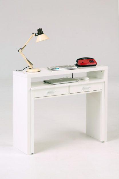 Białe wysuwane biurko console (100 cm)