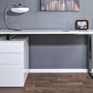 Białe biurko z kontenerkiem compact (160 cm)