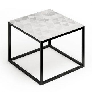 Nowoczesny stolik kawowy glast iii ze szklanym blatem / 50x50 cm