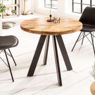 Okrągły stół do jadalni iron craft / blat z drewna mango