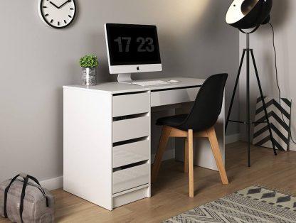 Nowoczesne białe biurko z szufladami margaret (120 cm)