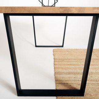 Nowoczesny dębowy stół durant na metalowych nogach / 180x90 cm
