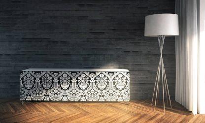 Nowoczesna komoda calisia biało-czarna z motywem florystycznym / szer. 240 cm