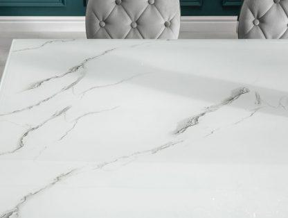 Modern barock elegancki stół do jadalni w stylu glamour ze szklanym blatem i srebrnymi nogami / 180x95 cm