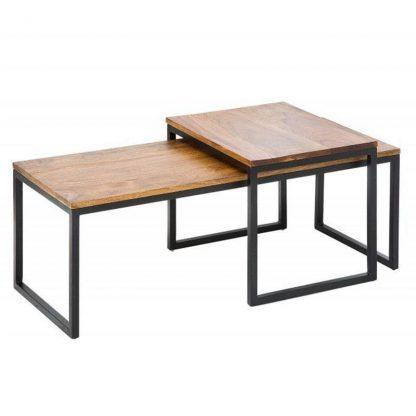 Nowoczesny stolik kawowy elements z palisandrowym blatem / zestaw 2 szt.