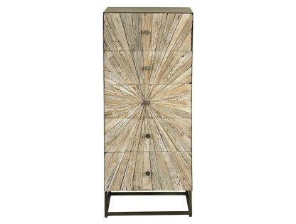 Drewniana komoda santana w stylu loftowym / wys. 110 cm