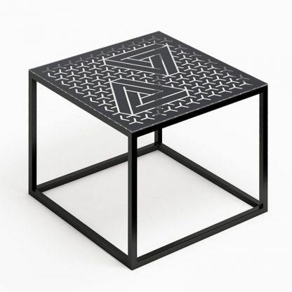 Nowoczesny stolik kawowy glast ii ze szklanym blatem / 50x50 cm