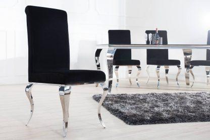 Krzesło tapicerowane modern barock w stylu glamour czarne