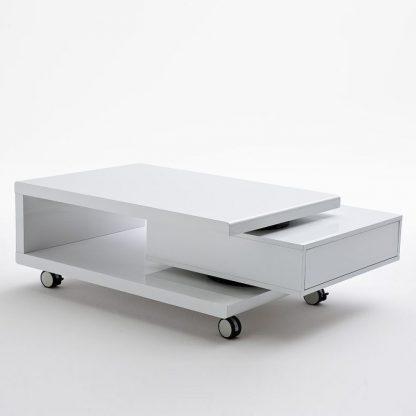 Nowoczesny biały stolik kawowy angela z szufladą / 90-120x60 cm