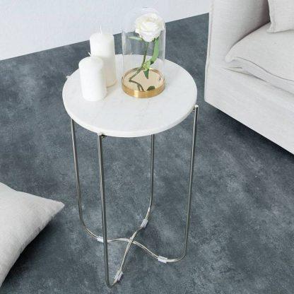 Okrągły stolik z marmurowym blatem noble biało-srebrny 35 cm / zestaw 2 szt.