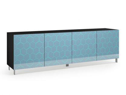 Nowoczesna komoda calisia niebiesko-beżowa z motywem geometrycznym / szer. 240 cm