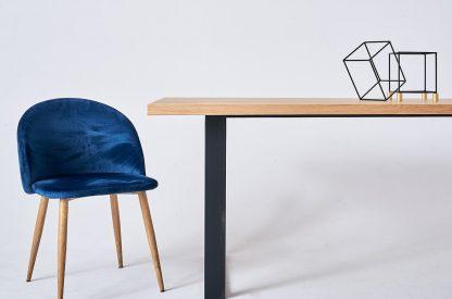 Nowoczesny dębowy stół donovan na metalowych nogach / 180x90 cm
