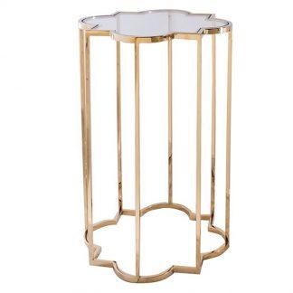 Elegancki złoty stolik kawowy delmar gold / duży